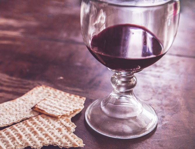 Communion Wafer and Wine 670